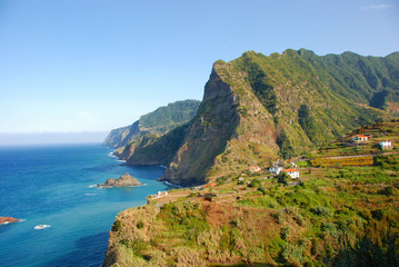 Madeira Island - rocks, blue sky and atlantic ocean