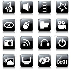 multimedia black buttons