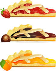 jam tarts with apricots and strawberry jam. jam tart with chocolate cream.