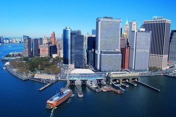 View from the water to Manhatan, New York City, USA