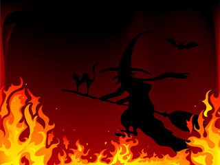 Fototapete - Witch in fire