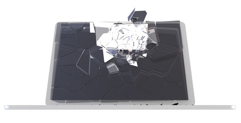 Computer hack concept - damaged PC