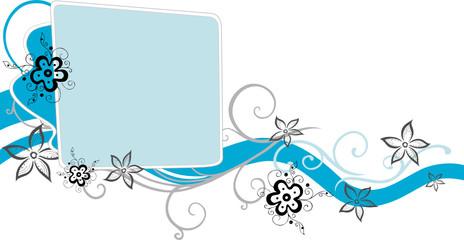 Ranke, floral, filigran, Blumen, Blüten, blue