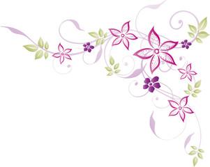 Ranke, floral, filigran, Blumen, Blüten, Pastell