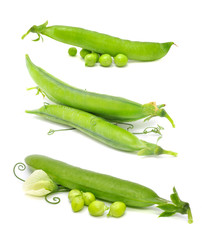 Set of Green Peas Isolated on White Background