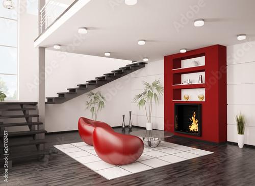 Modern Interior Wohnzimmer Mit Kamin Und Treppe 3d Render