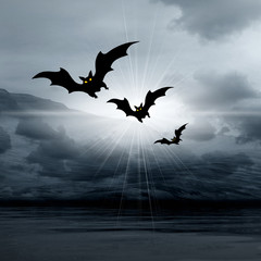 Halloween picture with bats