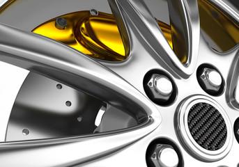 Alloy rim and brake disc - 3d render