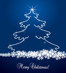 Blue christmas tree vector background made with diamonds