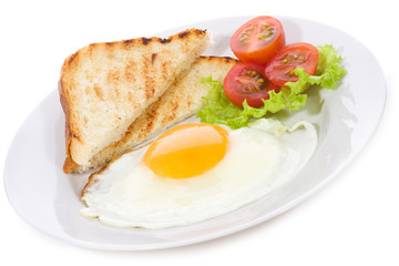 fried egg with toasts and vegetables