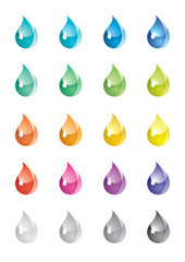 A set of colored drops
