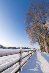 landscape in Sweden, winter, snow,fence.