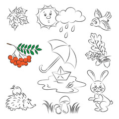 "Vector Sketch Clipart Set ""Autumn"""