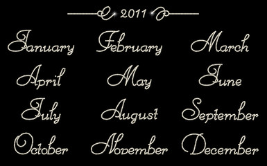 2011 brilliant months in italic type