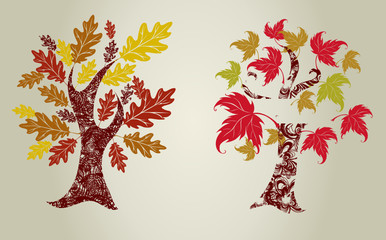 grunge color trees from leafs. Thanksgiving