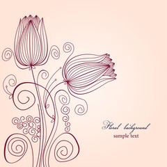 Fototapete - Floral background with tulips
