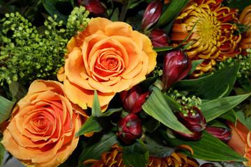 orange glowing autumn bouquet