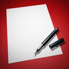 Blanko Brief mit Füllfederhalter auf Rot 03