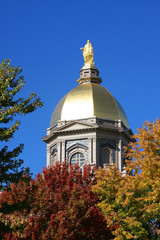 Notre Dame Golden Dome in Fall