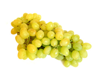 Bunch of green grapes on white. isolation