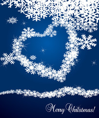 Snowflakes vector background with heart for Christmas
