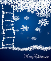 Christmas snowflakes vector background with ladders