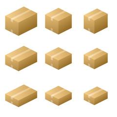 Nine size cardboard boxes (Close type) Brown