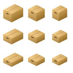 Nine size cardboard boxes (Knob normal type) Brown