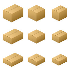 Nine size cardboard boxes (Normal type) Brown