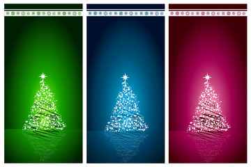 Abstract Christmas tree set vector background