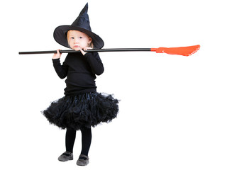 Little witch with broomstick