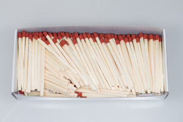 Matchbox containing matches on white background