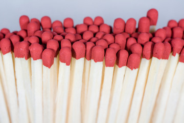 Close-up shot of matches stacked together