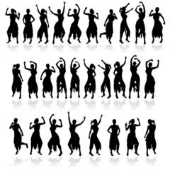 dancing girl in beauty dress black silhouette