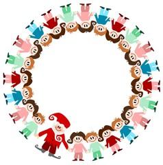 Illustration: Kinder im Kreis mit Nikolaus