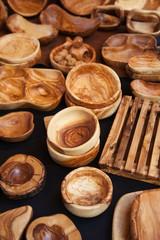 Household utensils wooden handmade, in a traditional market