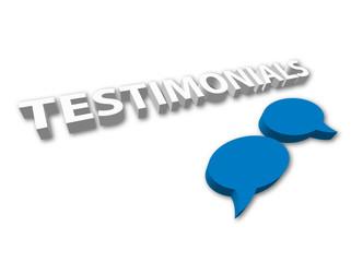 TESTIMONIALS (3D satisfaction speech bubble customer feedback)