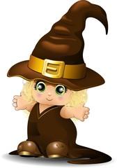 Strega Bambina-Halloween Baby Witch-Vector