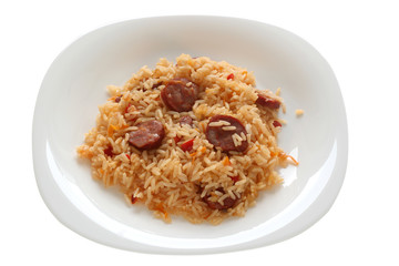 Fried rice with sausages