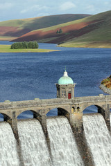 Wall Murals Dam Craig Goch reservoir dam close up, Elan Valley, Wales.