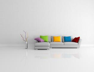 Bright Colored Minimalist Living Room
