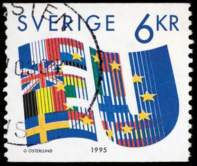 Sweden EU 1995 Postage Stamp Isolated On Black