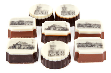 Chocolate sweetmeats with type of the Prague