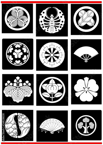 Japanese Crest Traditional Emblem Insignia Selection Stock Image