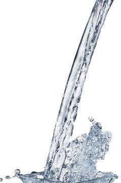 Water stream with splash on white