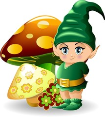 Printed kitchen splashbacks Fairies and elves Folletto con Funghi-Baby Goblin and Mushrooms-Vector