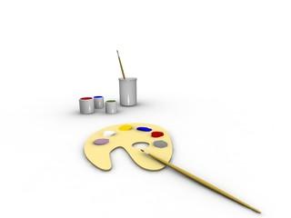 Art tools: paint, palette, tassels