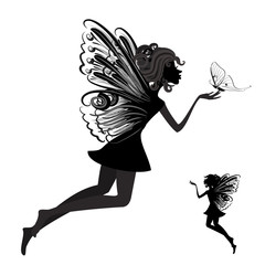 Fototapete - Silhouette of a fairy with butterfly