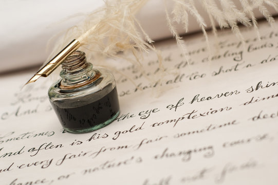 Handwriting,ink and quill pen