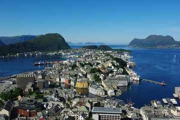Aerial view of the sity Alesund, Norway